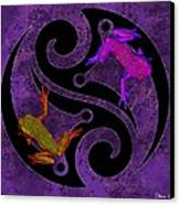 Yin And Yang Tree Frogs Canvas Print by Diana Shively
