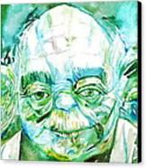 Yoda Watercolor Portrait Canvas Print