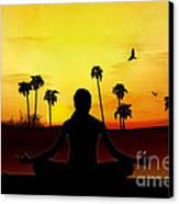 Yoga At Sunrise Canvas Print by Bedros Awak