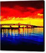 Yorktown Bridge Sunset Canvas Print by Bill Cannon