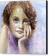 Young Girl Child Watercolor Portrait  Canvas Print by Svetlana Novikova