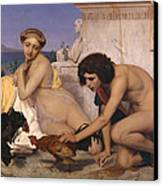 Young Greeks Attending A Cock Fight Canvas Print by Jean Leon Gerome