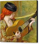 Young Spanish Woman With A Guitar Canvas Print by Pierre Auguste Renoir