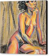 Young Woman Resting And Contemplating Canvas Print by Asha Carolyn Young