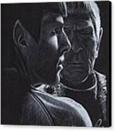 Zachary Quinto And Leonard Nimoy Canvas Print by Rosalinda Markle