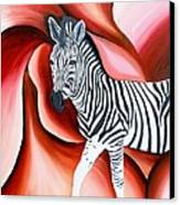 Zebra - Oil Painting Canvas Print by Rejeena Niaz