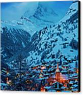 Zermatt - Winter's Night Canvas Print by Brian Jannsen