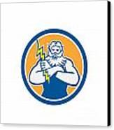 Zeus Greek God Arms Cross Thunderbollt Circle Retro Canvas Print