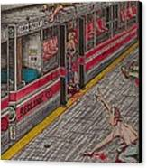 Zombies On The Red Line Canvas Print by Richie Montgomery