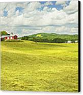 Hay Harvesting In Field Outside Red Barn Maine Canvas Print