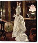Interior Scene With A Lady In A White Evening Dress  Canvas Print