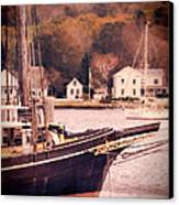 Old Ship Docked On The River Canvas Print
