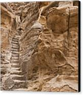 Stairs Lead Up A Rock Face In Little Canvas Print by Taylor S. Kennedy