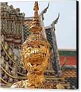 Demon Guardian Statues At Wat Phra Kaew Canvas Print by Panyanon Hankhampa