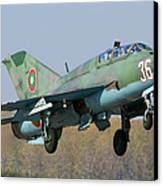 A Bulgarian Air Force Mig-21um Jet Canvas Print by Anton Balakchiev