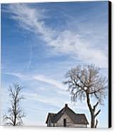Abandoned House In Field Canvas Print by Dave & Les Jacobs