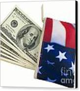 American Flag Wallet With 100 Dollar Bills Canvas Print by Blink Images