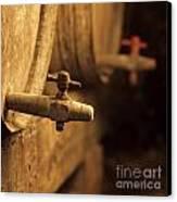 Barrels Of Wine In A Wine Cellar. France Canvas Print by Bernard Jaubert