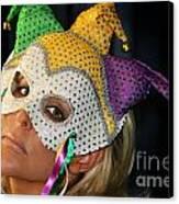 Blond Woman With Mask Canvas Print by Henrik Lehnerer