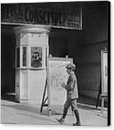 Boy In Front Of A Movie Theater Showing Canvas Print