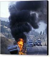 Car In Flames Canvas Print by Kaj R. Svensson