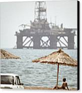 Caspian Sea Oil Rig Canvas Print by Ria Novosti