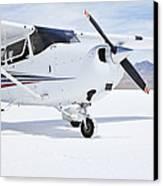 Cessna Aircraft On Bonneville Salt Flats Canvas Print