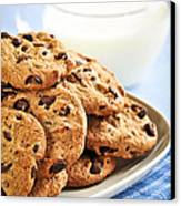 Chocolate Chip Cookies And Milk Canvas Print by Elena Elisseeva