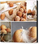 Collage Of Brown Eggs Images  Canvas Print by Sandra Cunningham