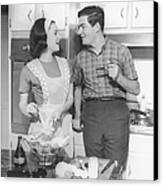 Couple Standing In Kitchen, Smiling, (b&w) Canvas Print