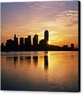 Dallas Skyline At Dawn Canvas Print by Jeremy Woodhouse