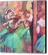 Dancers - Pink And Green Canvas Print