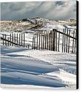 Drifting Snow Along The Beach Fences At Nauset Beach In Orleans  Canvas Print