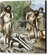 Early Humans Smelting Bronze Canvas Print