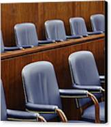 Empty Jury Seats In Courtroom Canvas Print