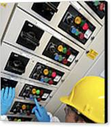 Engineer Servicing Air Conditioning Canvas Print by Tek Image
