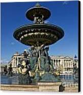 Fountain At Place De La Concorde. Paris. France Canvas Print