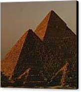 Giza Pyramids From Left Kings Menkure Canvas Print by Kenneth Garrett