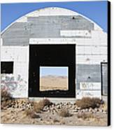 Graffiti On Abandoned Equipment Shed Canvas Print by Paul Edmondson
