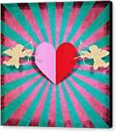 Heart And Cupid On Paper Texture Canvas Print