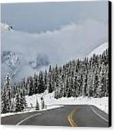 Highway 40 In Winter, Highwood Pass Canvas Print