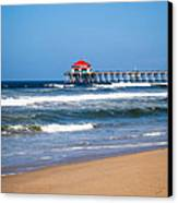 Huntington Beach Pier In Orange County California Canvas Print by Paul Velgos