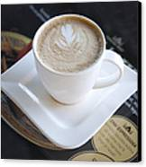 Latte With A Leaf Design Canvas Print by Jaak Nilson
