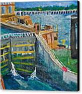 Lock And Dam 19 Canvas Print