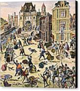 Massacre Of Huguenots Canvas Print by Granger