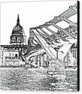 Millenium Bridge And St Pauls Canvas Print