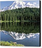 Mt Rainier Reflected In Lake Mt Rainier Canvas Print by Tim Fitzharris