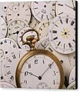 Old Pocket Watch On Dail Faces Canvas Print