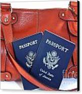 Passports With Orange Purse Canvas Print