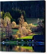 Reflex On Fushl Lake Salzburg Austria Canvas Print by Arthit Somsakul